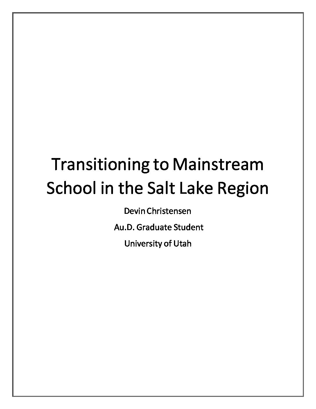 Transitioning to Mainstream School booklet